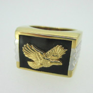 Sterling Silver Gold Plated Two Tone Eagle Mens Ring Size 9