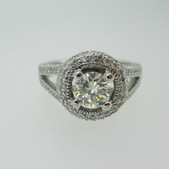 18k White Gold .70ct Round Brilliant Cut Diamond Ring with Diamond Accents Size 6 1/2