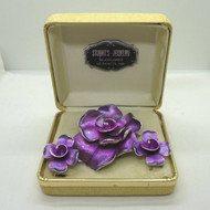 Vintage Kramer Brushed Silver Tone Purple Enamel Flower Brooch & Earrings in Box