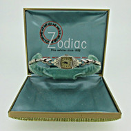 Vintage Zodiac 986 17j 14k Solid Gold with Diamonds Watch Parts Steampunk with Original Box (B4982)