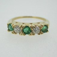 14k Yellow Gold Emerald and Approx .20ct TW Diamond Band Ring Size 7