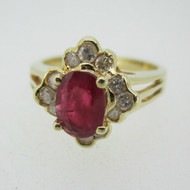 14k Yellow Gold Ruby Ring with Approx .25ct TW Diamond Halo Accents Size 6 1/2