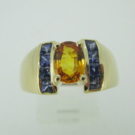 14k Yellow Gold Gold and Blue Natural Sapphire Ring Size 9 1/4