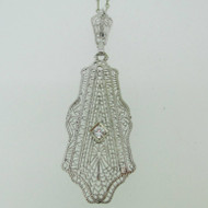 "Vintage 14k White Gold Lavalier with AP .10ct European Cut Diamond Filigree Necklace 14"" Chain"