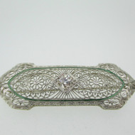 Vintage 14k Filigree Pin Brooch with Approx 1/3ct European Cut Diamond