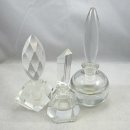 Lot of 3 Empty Clear Art Glass Perfume Bottles Mod Designs Heavy Unmarked