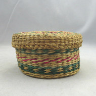 Vintage Small Round Tight Weave Red Green Pattern Southwestern Basket Bowl w Lid