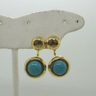 Pair of Gold Tone Post Stud Earrings with Adjustable Turquoise Cab Enhancers