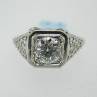 Vintage 1920s 18k White Gold Approx .70ct European Cut Diamond Filigree Ring Size 6 3/4