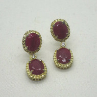 Yellow Gold Plated Stauer Signed Mirasol Ruby & Diamondaura Dangle Earrings