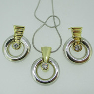 14k White and Yellow Gold Diamond Earring and Pendant Necklace Set