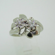 Vintage 14k White Gold Approx .10ct TW Diamond Ring Size 8 1/4