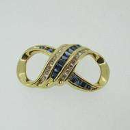 14k Yellow Gold Diamond Baguette Cut Sapphire Pendant