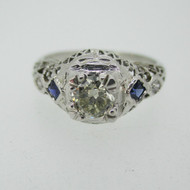 Vintage 18k White Gold .55ct European Cut Diamond Ring with Sapphire and Filigree Accents Size 7 1/4