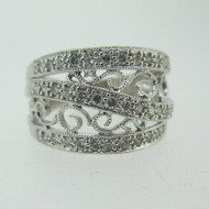 14k White Gold Approx 1/3ct TW Diamond Fashion Ring with Filigree Accents Size 6 1/2