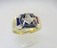 10k Yellow Gold Masonic Ring with Blue and White Enamel. Size 10 ¼