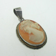 Sterling Silver Cameo Conch Shell Pendant Vintage