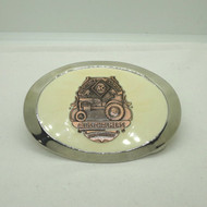 Vintage Silver & Copper Tone Enameled Allis-Chalmers Large Oval Belt Buckle