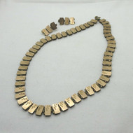 Victorian Gold Filled Bookchain Etched Choker Necklace & Post Earrings Set