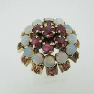 Vintage 14k Yellow Gold Ruby and Opal Dome Style Ring Size 8 1/2