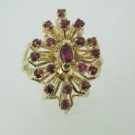 14k Yellow Gold Ruby Fashion Ring Size 7 1/4