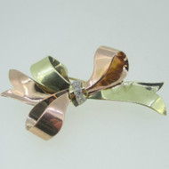 14k Yellow Gold Rose Gold Approx .1ct TW Ribbon Bow Pin Brooch