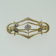 10k Yellow Gold Approx .08ct TW Round Brilliant Cut Diamond Seed Pearl Vintage Pin