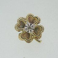 14k Yellow Gold Four Leaf Clover Lapel Pin