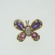 14k Yellow Gold Amethyst Pink Tourmaline Butterfly Lapel Pin