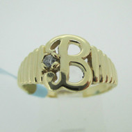10k Yellow Gold Signet B Ring with Diamond Accents Size 8