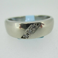 14k White Gold Diamond Men's Band Ring Size 9 1/2