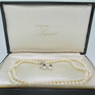 14k White Gold Cultured Pearl Necklace Earring Set