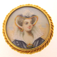 Victorian Mid 1800's 14k Yellow Gold Hand Painted Portrait Woman Pin Brooch Pendant