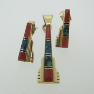 14k Yellow Gold Coral Turquoise and Black Onyx Earring Pendant Set