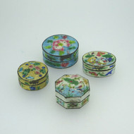 Lot of 4 Vintage Silver Tone Cloisonne Enameled Pill Boxes Nature Theme China