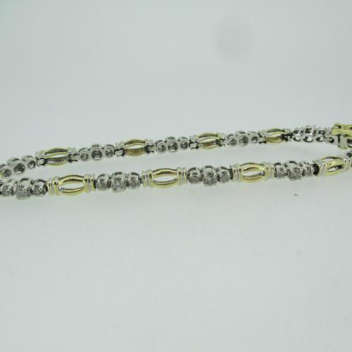 10k Yellow White Gold Approx .50ct TW Round Brilliant Cut Diamond Bracelet