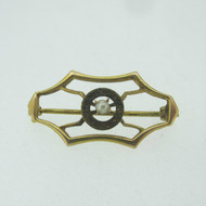 10k Yellow Gold Vintage Style Pearl Pin Brooch