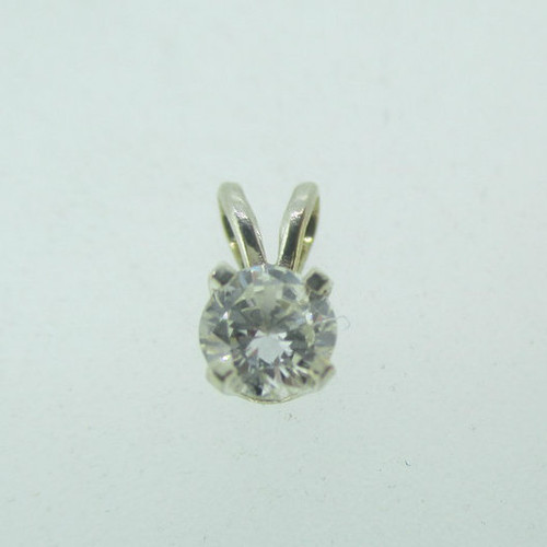 14k White Gold Approx .20ct TW Round Brilliant Cut Diamond Pendant