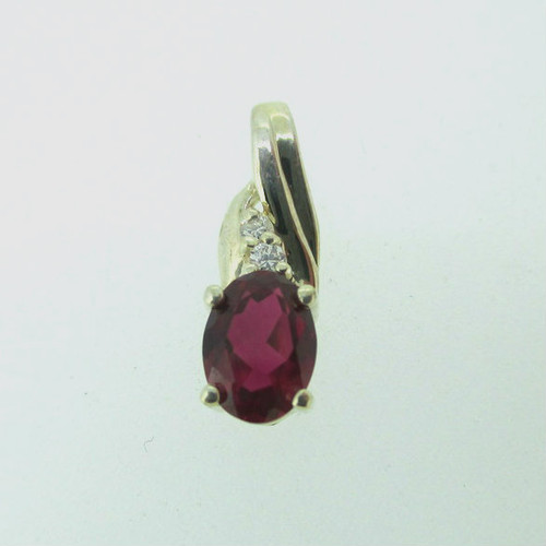 10k White Gold Created Ruby Pendant