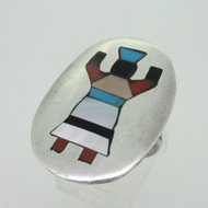 Sterling Silver Oval Ghan Dancer Inlay Ring Size 7