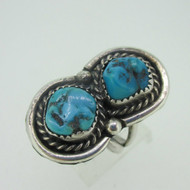 Sterling Silver Double Turquoise Southwest Ring Size 6