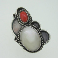 Sterling Silver Mother of Pearl Southwest Ring Size 6.5