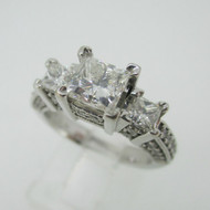 14k White Gold I.G.I. Certified 1.03ct Princess Cut Diamond Ring with European Shank Size 6 1/4