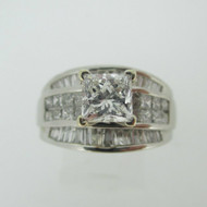 Platinum .89ct Princess Cut Diamond Ring with Diamond Accents Size 6 1/2