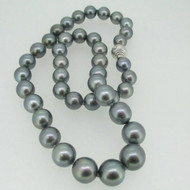 50 Shades of Grey Tahitian Blue Gray Pearl Necklace with 18k White Gold Clasp and Diamond
