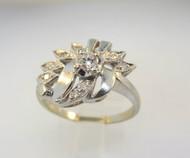 14k White Gold 1930's Era .22ct TW Round Brilliant Diamond Ring. Size 7 ¾*