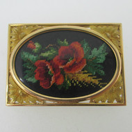 Edwardian 18k Yellow Gold Framed Needlepoint Poppy Brooch Pin