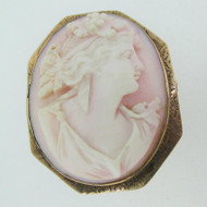 Vintage 10k Rose Gold Pink Shell Cameo Brooch AS IS