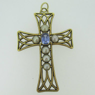 Victorian 14k Yellow Gold Cross Pendant with 3.5ct Sapphire w MOBE Pearl Accents