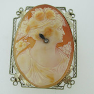 Victorian 14k White Gold Conch Shell Cameo with Filigree Detailing Brooch Pin Pendant